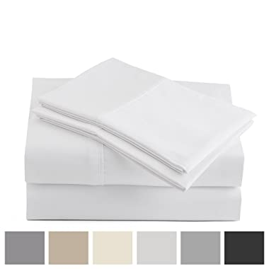 Peru Pima - 415 Thread Count - 100% Peruvian Pima Cotton - Percale - Bed Sheet Set (Queen, White)