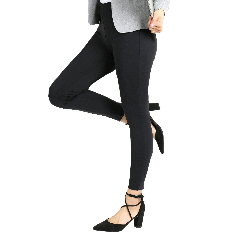 Bamans Yoga Dress Pants, High Waisted Black Workout Leggings for Women, Office Skinny Lined Leggings, Strechy (X-Large, Black)