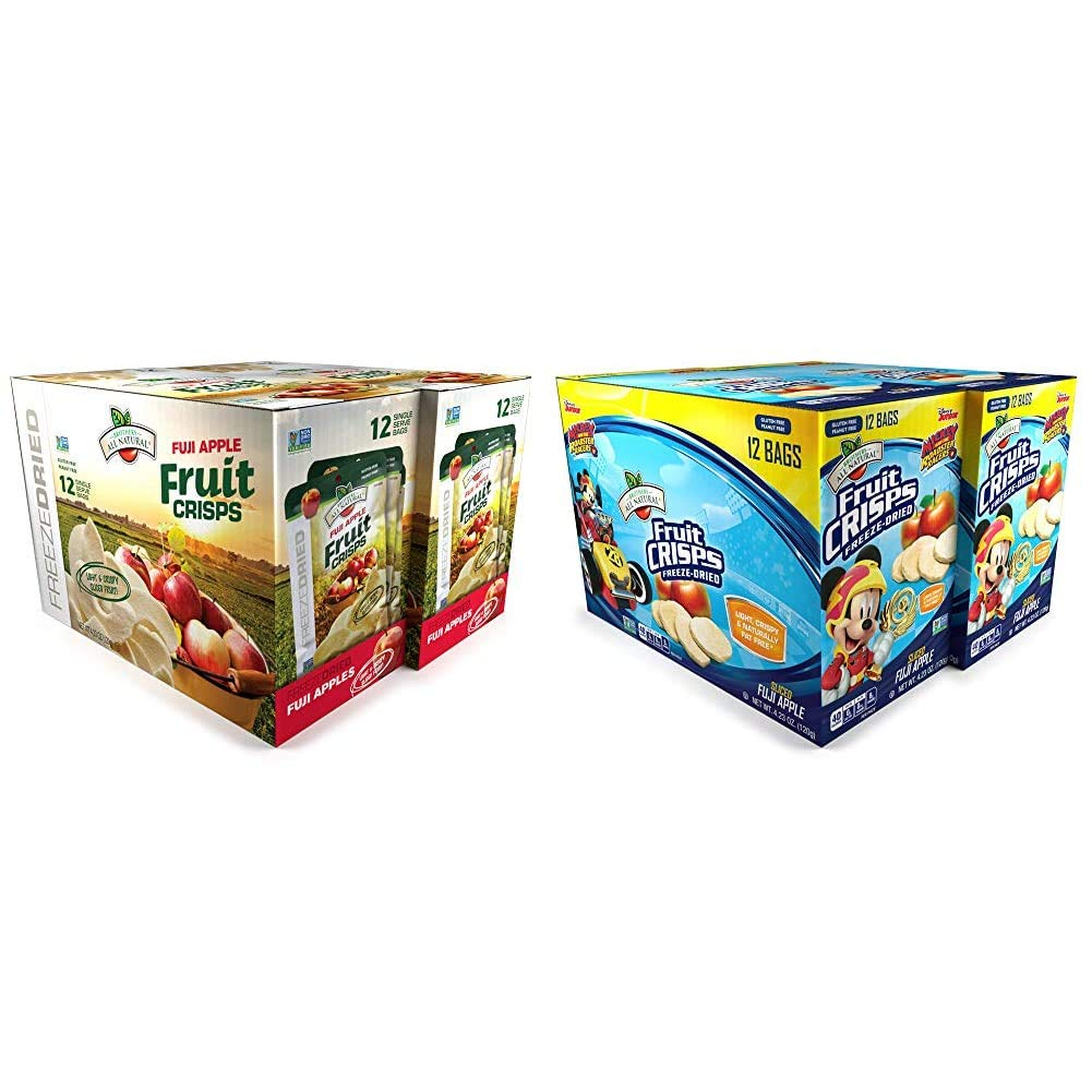 Brothers-ALL-Natural Fuji Apple Crisps, 0.35-Ounce Bags (Pack of 24) & Mickey Mouse Apple Crisps Pouches, 0.35 Ounce (Pack of 24) (2 Packs of 12 bags each)