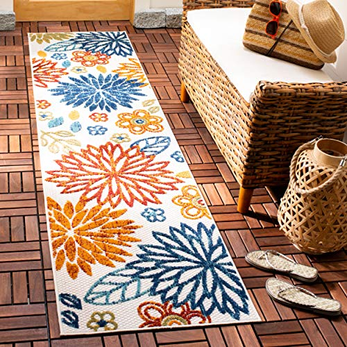 Safavieh CBN833A-28 Cabana Collection CBN833A Creme and Red Premium Polyester (2' x 8') Runner, Cream