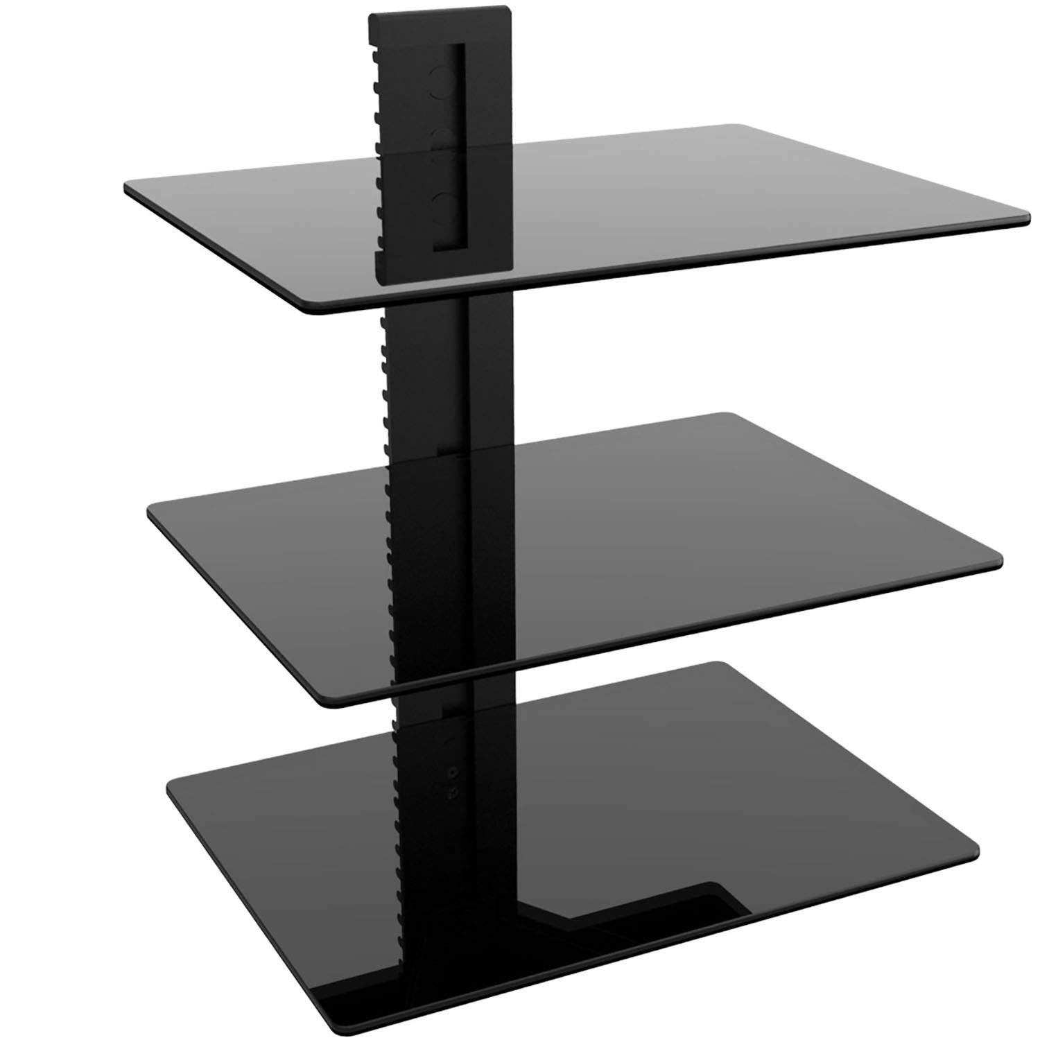 WALI Floating Wall Mounted Shelf with Strengthened Tempered Glasses for DVD Players, Cable Boxes, Games Consoles, TV Accessories (CS303), 3 Shelves, Black by WALI