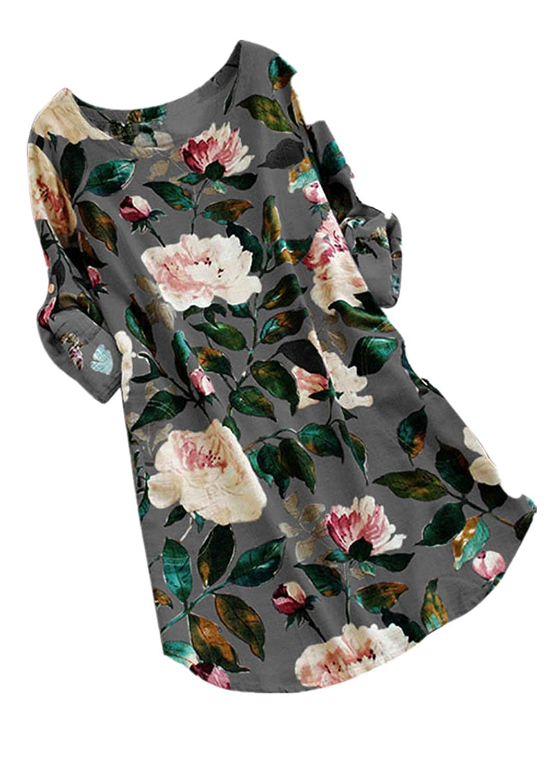 CAOQAO Damen Blumendruck-Minikleid-Sommerfes Langes Hülsen-Kleid Plus Größe
