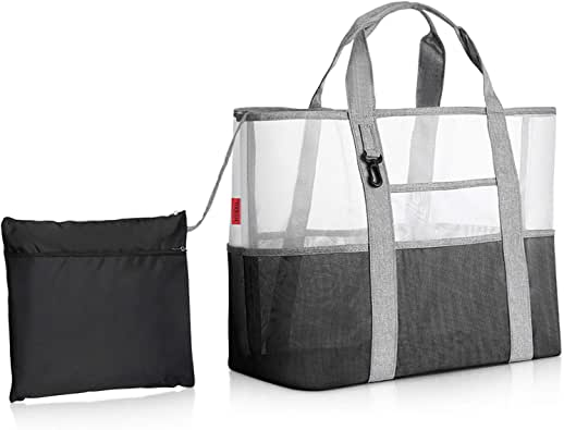 YOOFAN Beach Bag - Mesh Tote with 7 Pockets, 1 Hook and 1 Foldable Storage Bag, Durable Nylon Mesh Fabric (Gray)