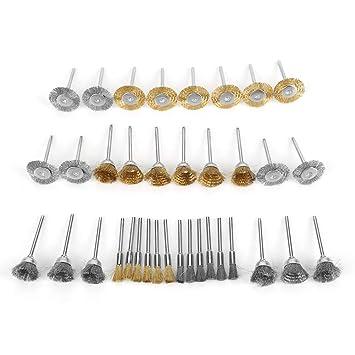 36pcs Wire Wheel Brush Brass Steel Polishing Wheel Set Pen