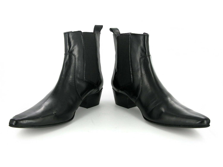 Gucinari ROMEO Mens Cuban Heel Winklepicker Chelsea Boots Black:  Amazon.co.uk: Shoes & Bags