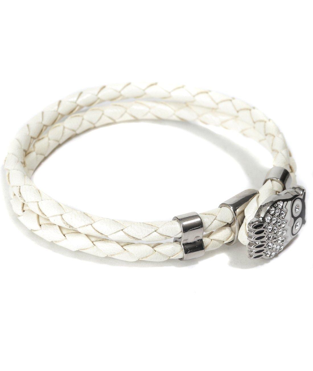 Mon Art Women's Braided Bracelet Embellished with Owl Toggle Closure L Ivory
