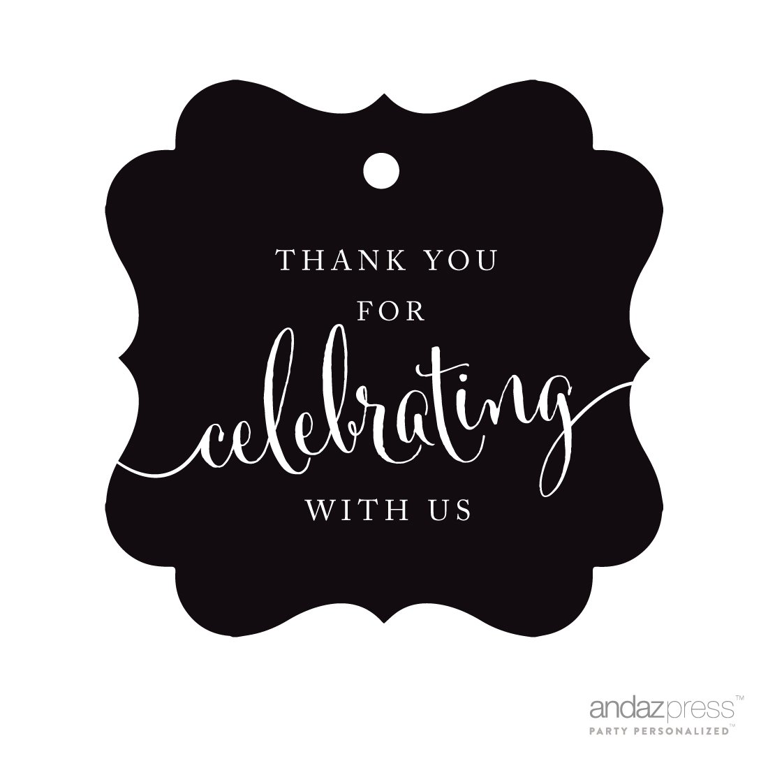 Andaz Press Fancy Frame Gift Tags, Thank You For Celebrating With Us, Black, 24-Pack, For Baby Bridal Wedding Shower, Kids 1st Sweet 16 Quinceanera Birthdays, Anniversary, Graduation, Baptism, Christening, Confirmation, Communion Party Favors, Gifts, Boxes, Bags, Treats and Presents B01031HXY6   -