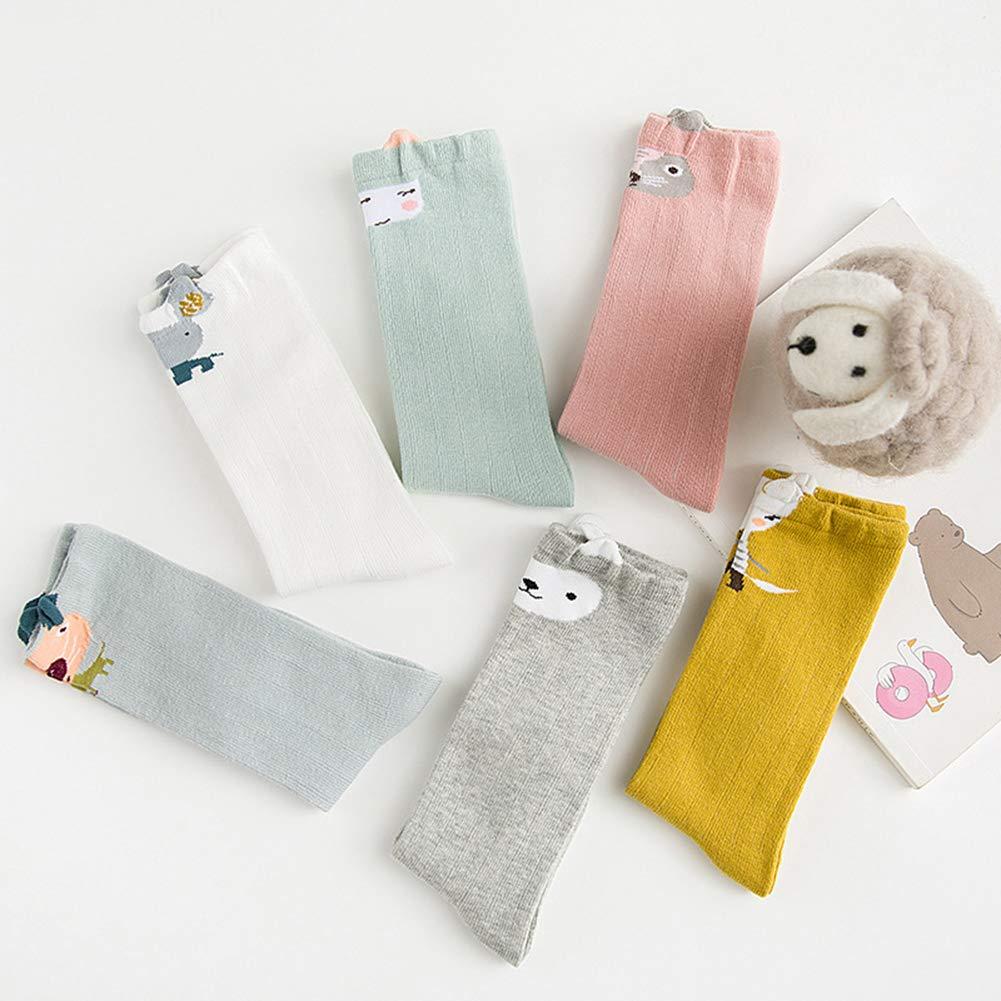 VWU 6 Pack Baby Girls Boys Knee High Socks Toddler Animal Socks