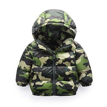 HCMONSTER Chaqueta de Abajo para niños Niños de Invierno Ca Abrigos de muflaje con Capucha para