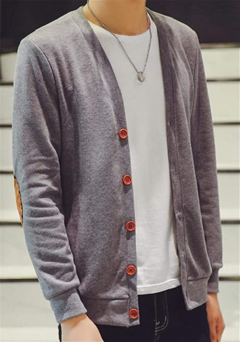 Hajotrawa Mens Knit Fashion Sweaters Elbow Patches Leisure Overcoat Long Sleeve Cardigans