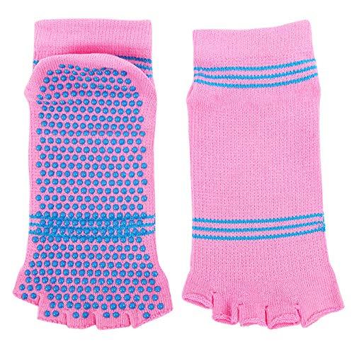 (Feccile Sports & Fitness Women Ladies Girls Split 5 Toes Yoga Anti Slip Grip Open Toe Socks (Pink))