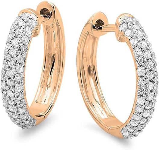 ctw 0.15 Carat Sterling Silver Round Diamond Ladies Hoop Earrings