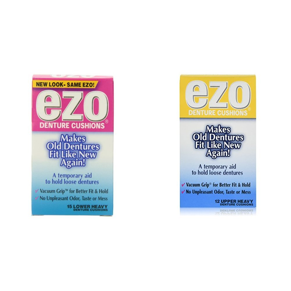 Ezo Denture Cushions, Lower Heavy, 15 Cushions (Pack of 6) & Ezo Denture Cushions Upper Heavy 12 Cushions (Pack of 6)