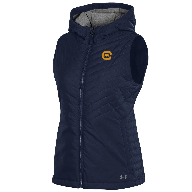 Navy Small Under Armour NCAA Womens Lightweight Hooded Puffer Vest