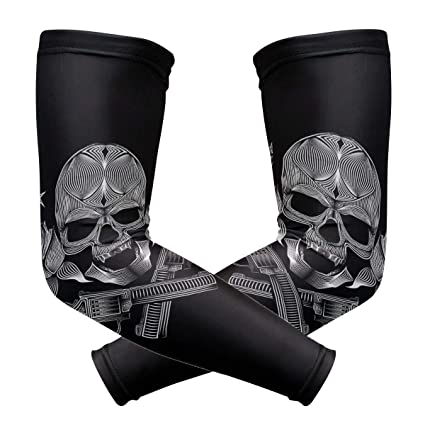 Skull Rose UV Sun Protective Outdoors Stretchy Cool Arm Sleeves Warmer Long Sleeve Glove