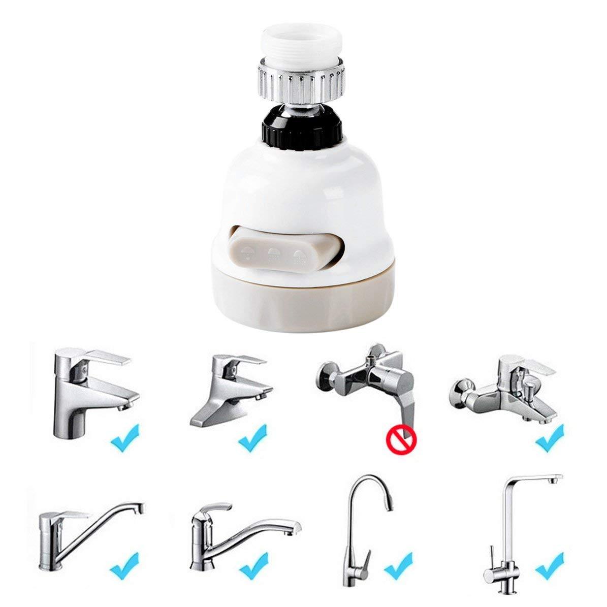 /Économiseur deau robinet filtre de douche robinet robinet deau Splash Trois types de sortie eau pommeau de douche /éclaboussure outil de robinet Blanc gris WEIWEITOE