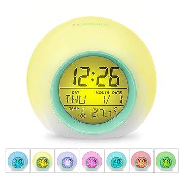 HAMSWAN Despertadores, [Regalos] Reloi Alarma, Clock, Despertadores Cambiado Entre 7 Colores con 8 Tonos, Temperatura para Padres Estudios y Niños ect