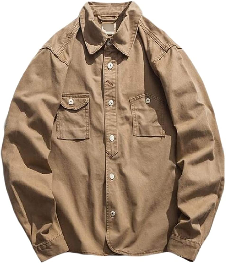C/&H Mens Fit Twill Top Button-Down Cargo Long-Sleeve Shirt
