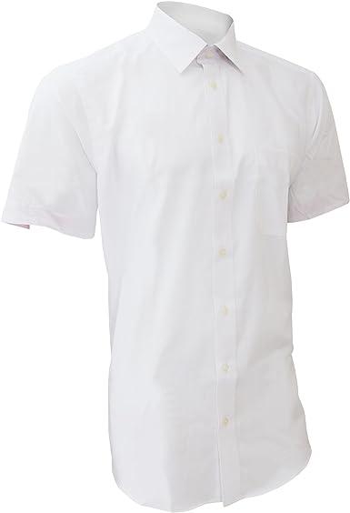 Brook Taverner - Camisa de Manga Corta Diseño Casual Modelo Savona para Hombre Caballero - Trabajo/Boda/Fiesta (Cuello 41cm) (Blanco): Amazon.es: Ropa y accesorios