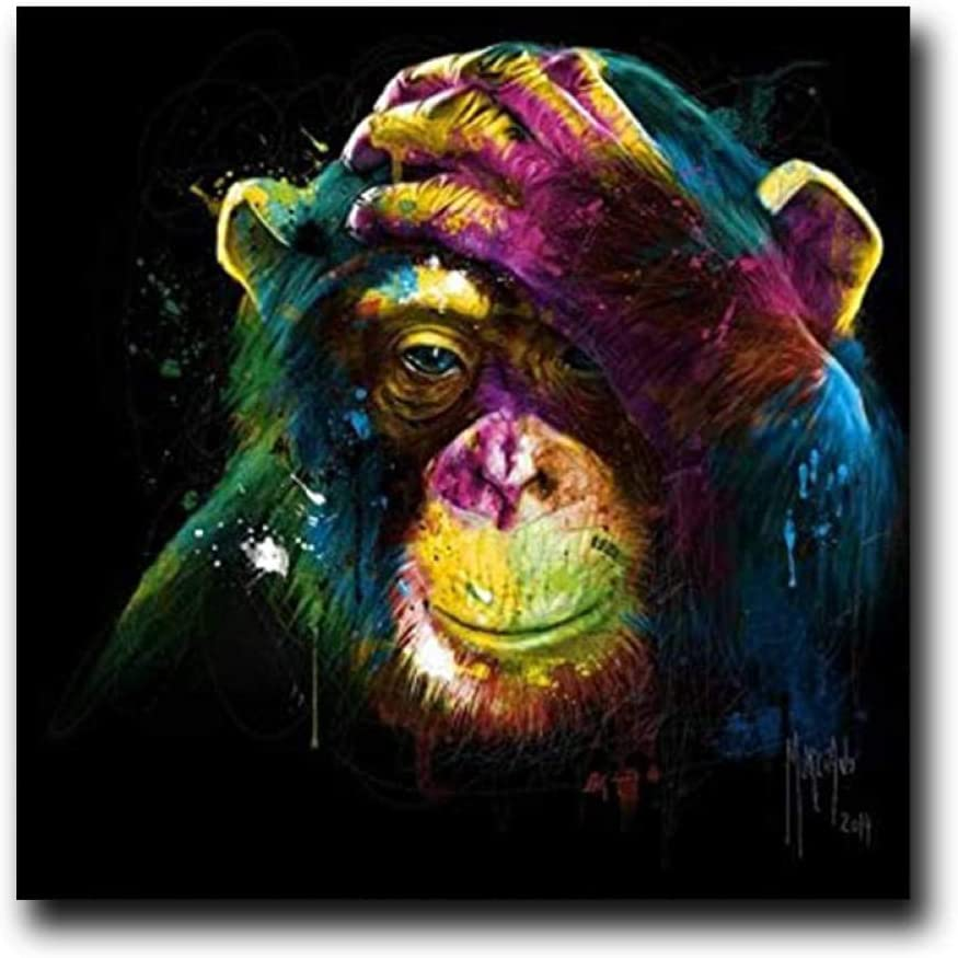 mmzki Lienzo de Arte Abstracto de la Pared Graffiti Street Art Abstract Cute Monkey Canvas Painting Carteles e Impresiones Cuadros Banksy Pop Wall Art Picture for Living Room No Frame