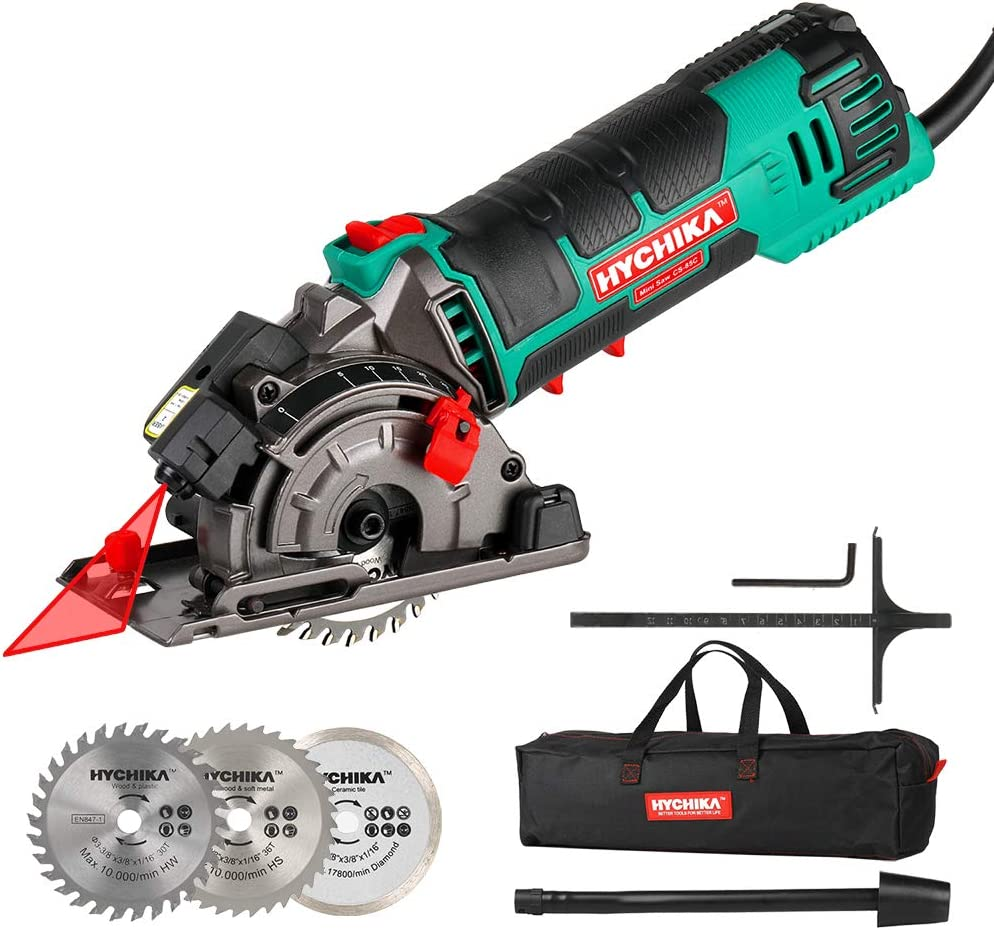 "Mini Circular Saw, HYCHIKA Compact Circular Saw Tile Saw with 3 Saw Blades, Laser Guide, Scale Ruler, 4A Pure Copper Motor, 3-3/8"" 4500RPM Ideal for Wood, Soft Metal, Tile and Plastic Cuts"