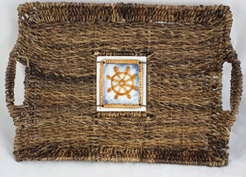(Nantucket Home Woven Abaca Serving Tray with Ship's Wheel Tile)