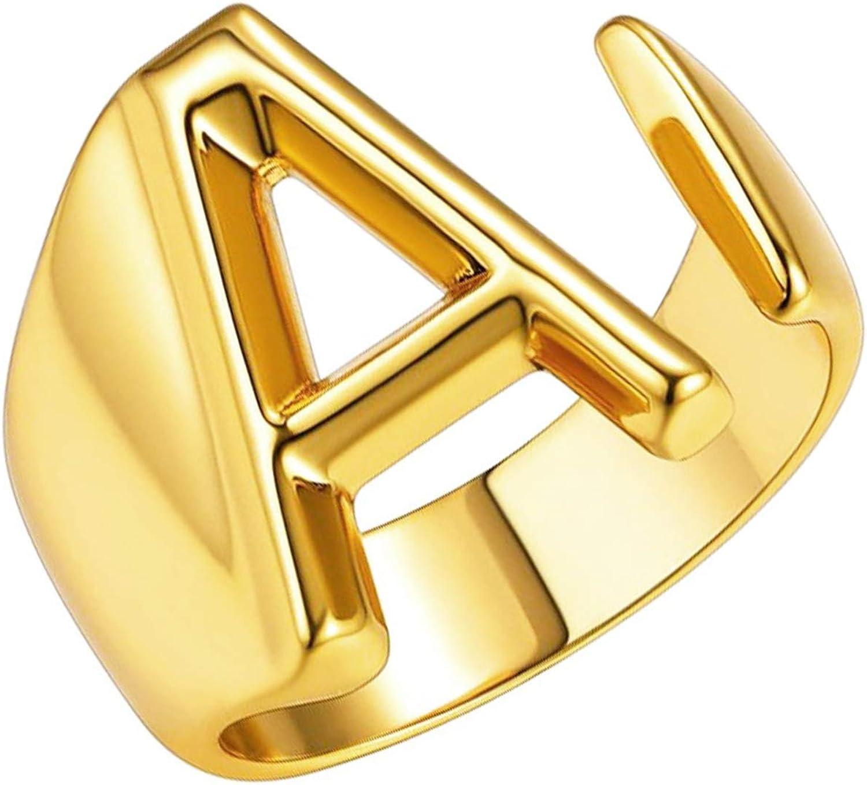Enhanced gold plating 1pc Alphabet ring 16K shiny gold plated brass Capital Letter SARW-PG Inner 16mm P Adjustable ring