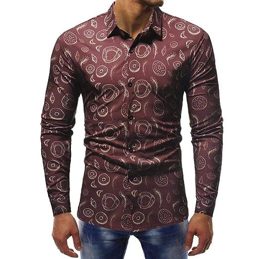 Qiusa Patrón 3D Camisa de Hombre Camiseta de Manga Larga Casual ...