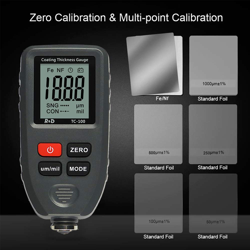 ZUQIEE Digital Coating Thickness Gauge TC-100// Automatic Thickness Painting Measuring Meter for Car Body