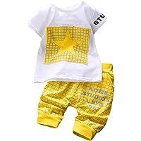 K-youth Conjuntos Bebé Niño, Ropa Recién Nacidos Bebe Niño Camiseta Mangas Cortas Enrejado Estrellas Cartas Estampado…