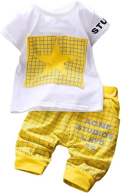 Imagen deK-youth Conjuntos Bebé Niño, Ropa Recién Nacidos Bebe Niño Camiseta Mangas Cortas Enrejado Estrellas Cartas Estampado Tops y Pantalones Verano Ropa Conjunto