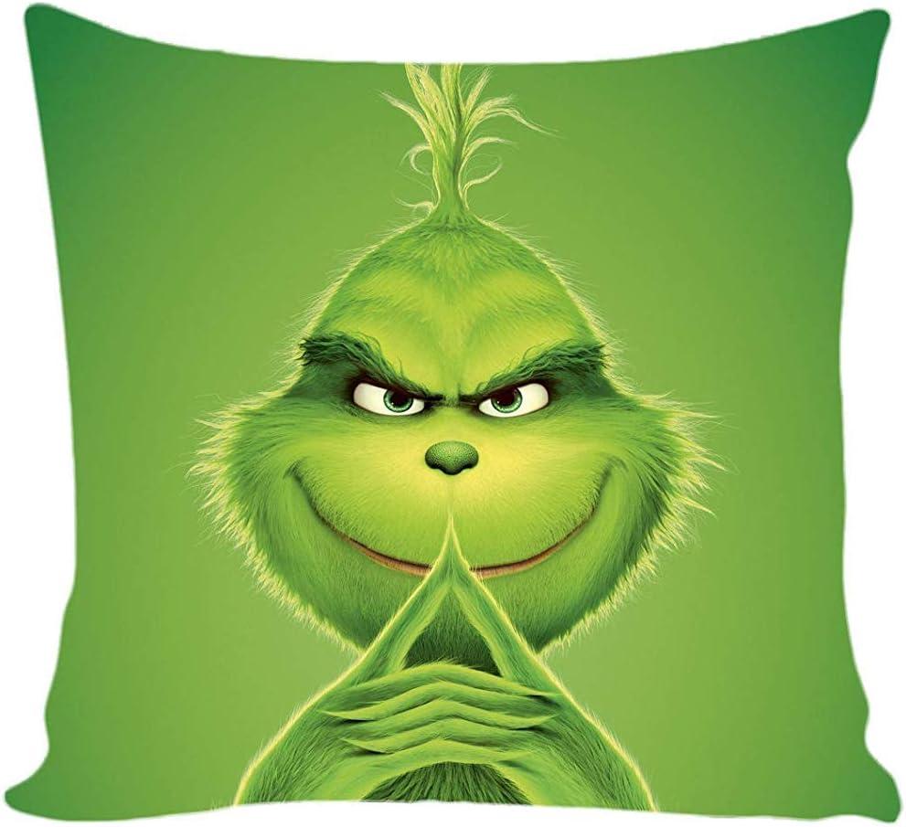 Grinch Chistmas Funda de Almohada de Tiro Patrón de Cara de Sonrisa Funda de Almohada de Dibujos Animados para niños Material Suave Funda de Almohada Decorativa para sofá sofá (Cuadrado 45 * 45 cm)