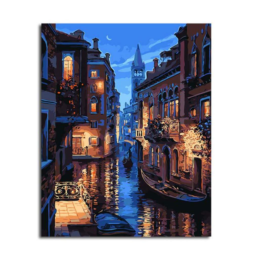 Dreamsy Dipinto a olio di Diy per il kit di numero 20 pollici decorazioni natalizie decorazioni regali pittura Paintworks Venice Night Disegno con spazzole 16 con cornice