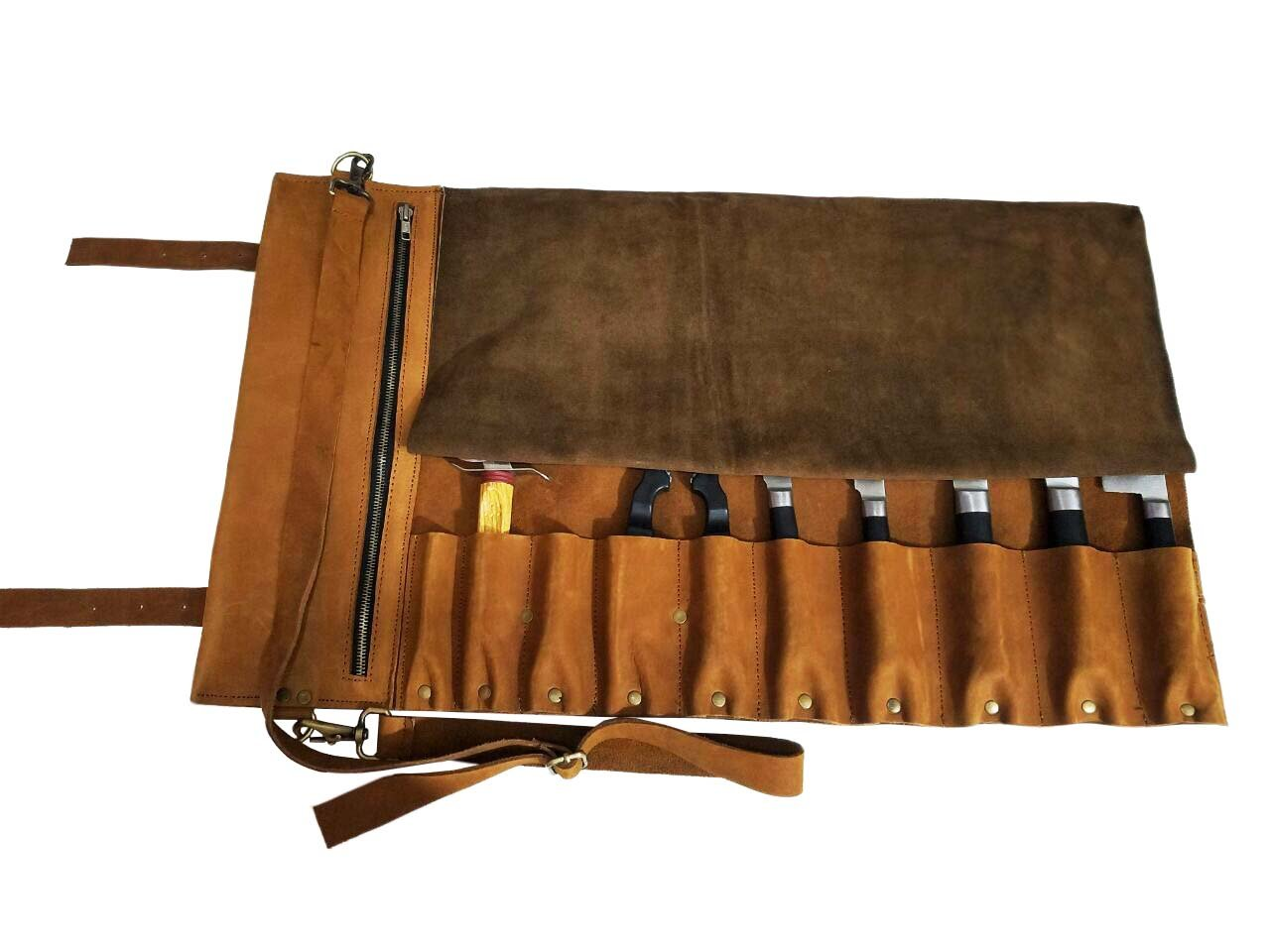 Lightweight Genuine Premium Vintage Tan Leather 10 Pockets PROFESSIONAL Knife Bag/Chef Knife Roll with Buckles