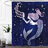 Mermaid Shower Curtain Colorful Star Jellyfish Mermaid Design Shower Curtain,Waterproof&Antibacterial&Eco-Friendly made of 100% Polyester Fabric,Non Toxic,Odor Free,Rust Proof Grommets 60