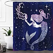 Colorful Star Jellyfish Mermaid Design Shower Curtain,Waterproof&Antibacterial&Eco-Friendly made of 100% Polyester Fabric,Non Toxic,Odor Free,Rust Proof Grommets 60 x72