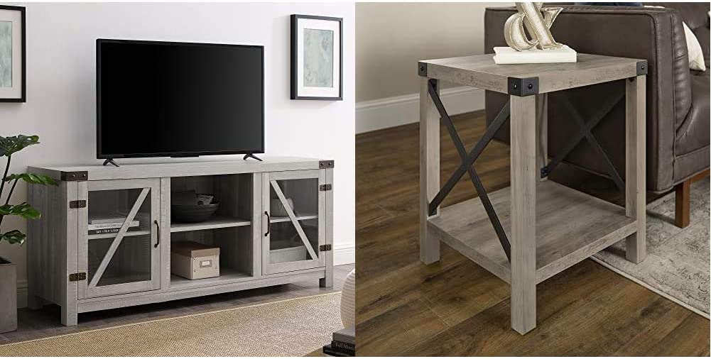 Walker Edison Furniture Company Farmhouse Barn Glass Wood TV Stand Cabinet, 58 Inch, Stone Grey & Rustic Modern Farmhouse Metal and Wood Square Side Accent Small End Table, 18 Inch, Grey Wash