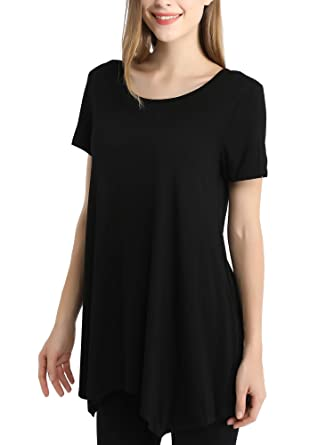 048b112d744 HERISDEN Womens Swing Tunic Tops Short Sleeve Loose Fit Ladies Basic Solid Comfy  Flattering T Shirt