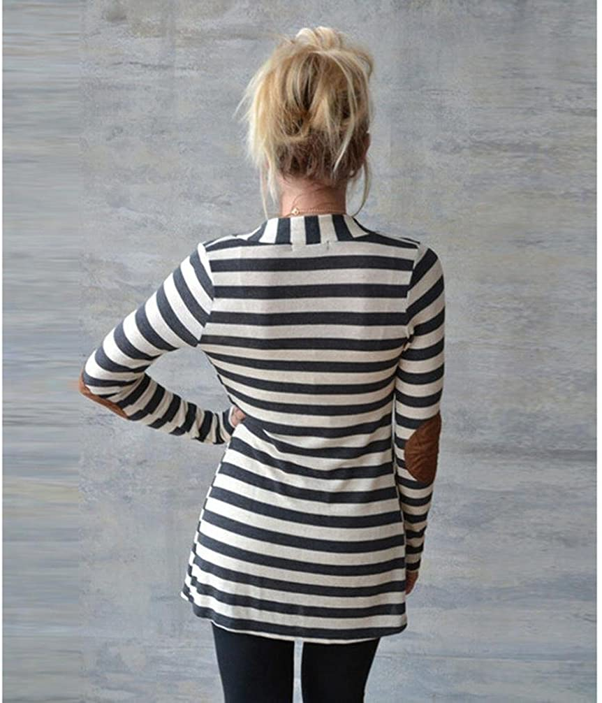 Rokment Women Long Sleeve V-neck Striped Cardigans Patchwork Outwear