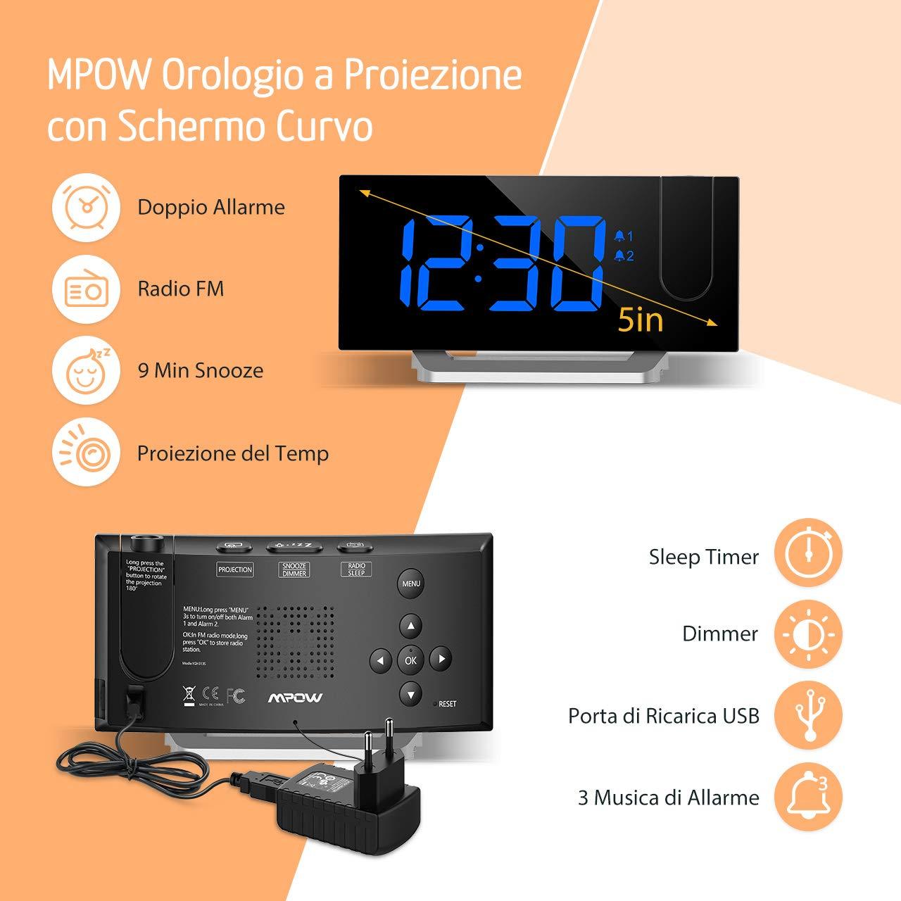 Mpow Radio Despertador Digital Proyector, FM Radio Reloj Despertador con Proyector de Alarma Dual con 4 Sonidos, 3 Tonos, 5 Brillos, Pantalla LED 5