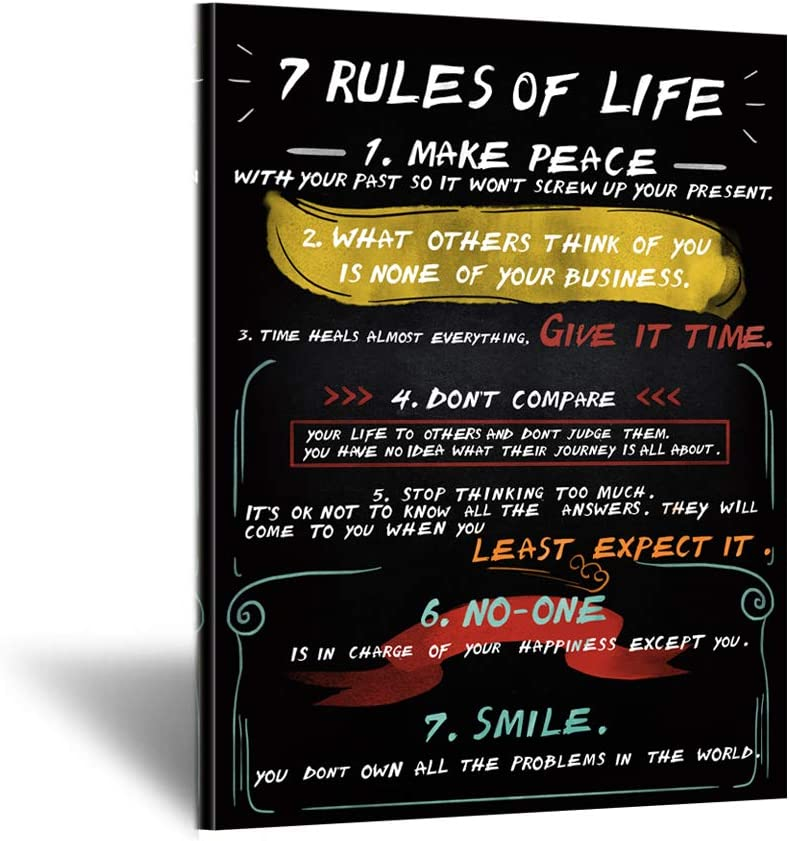 Kreative Arts Inspirational Wall Art 7 Rules Of Life Motivational Office Canvas Poster Prints Quotes Home Decor Black and White Art for Living Room Rustic Framed Art Gift Ready to Hang 24x36inch