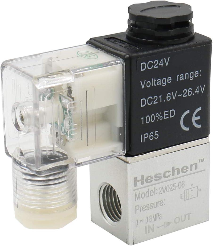heschen eléctrico neumática válvula solenoide 2V025–0824VDC PT1/42/2Camino normalmente cerrado