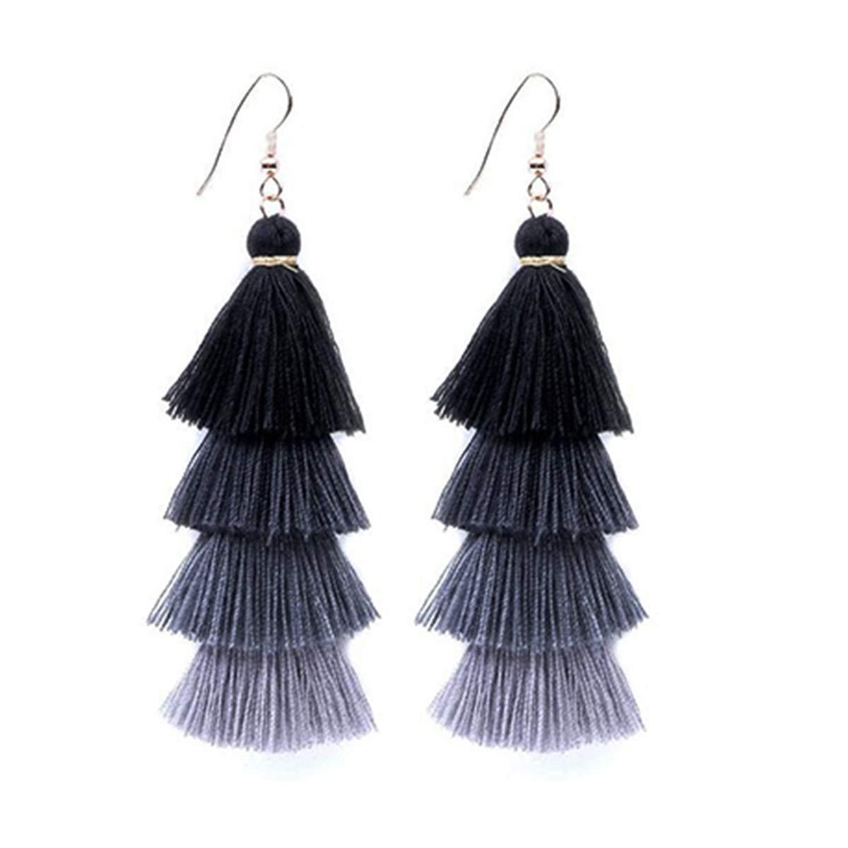 4 Layered Colorful Womens Stylish Earrings Bohemian Style Summer Tassel Drop Earrings (Black-4)