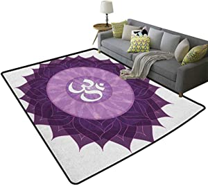 Chakra Children's Rug Circular Lace Like Point Form with Arabic Lettering The in Node Centre Meditation Image Rugs for Bedroom Living Room Girls Kids Purple 79 x 118 Inch