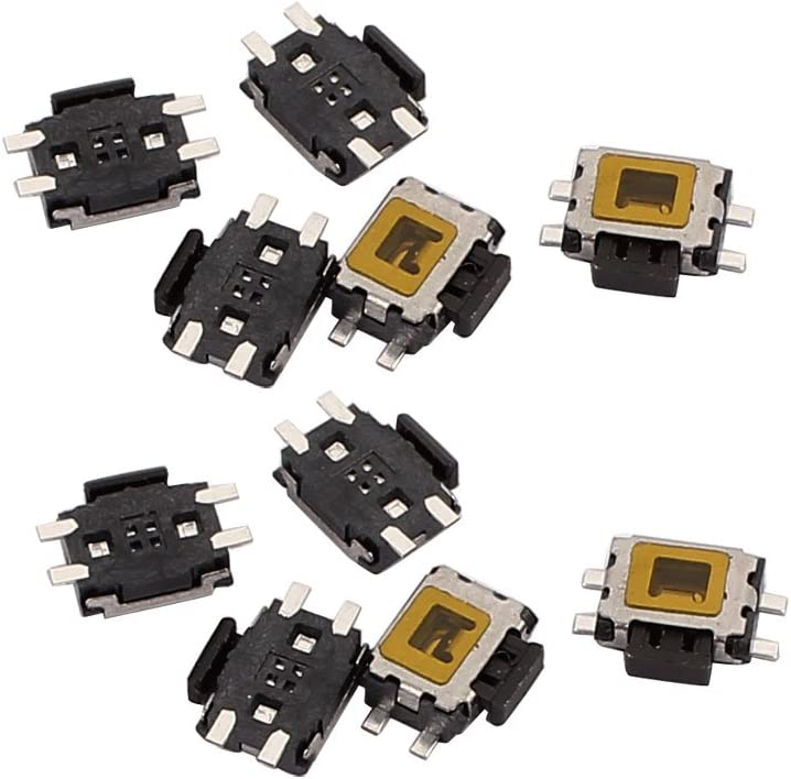 uxcell 10Pcs 4 Pin Square 4.7mmx4.3mmx1.6mm Self-Locking DPDT Mini Push Button Switch