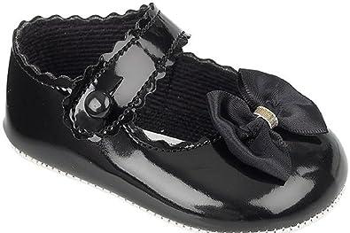 Amazon.com: Bebé niña patente zapatos de vestir con lazo de ...