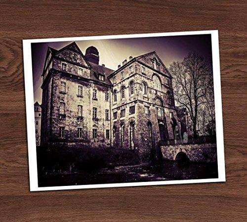 Creepy Haunted Mansion House Sanitarium Gothic Purple Vintage Photo Art Print 8x10 Halloween Decor ()