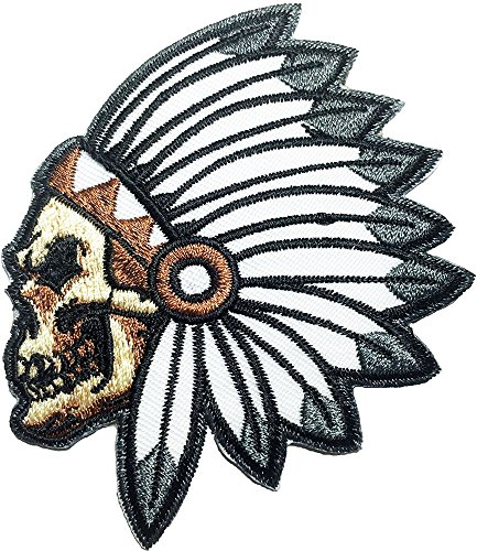- Native American Indian Chief Feather Skull Ghost Skeleton Outlaw Biker Rider Hippie Patch Embroidered Sew Iron On Patches Badge Bags Hat Jeans Shoes T-Shirt Applique