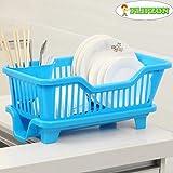 Flipzon 3 in 1 Sink Set Organizer, Dish Wash with Draining Drying Rack (44x18.5x31.5cm), Blue