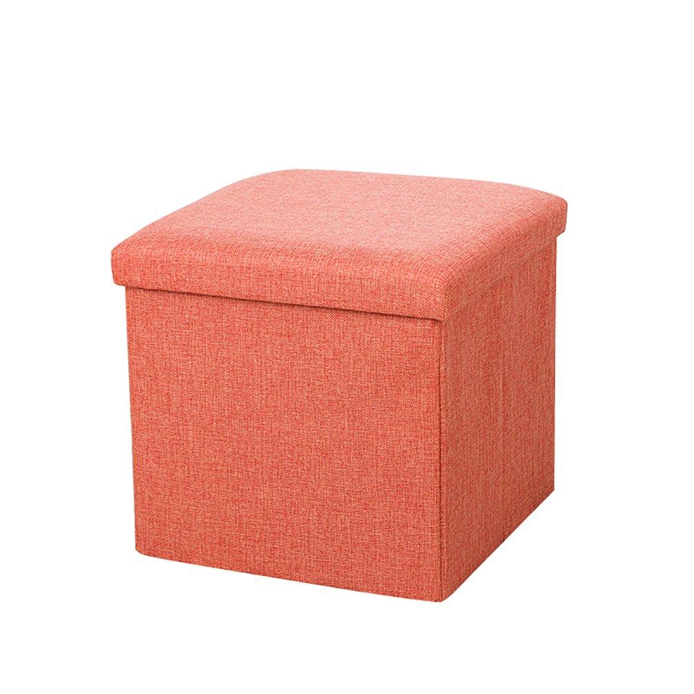 Orange,30 * 30 * 30cm YOUJIA Sitzhocker Lagerung Hocker Sitzbank Faltbar Polsterhocker Kasten Sitzw/ürfel Aufbewahrungsbox Stuhl Sitzbox
